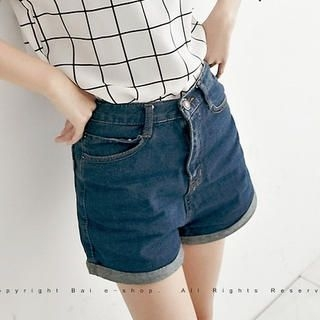 BAIMOMO - High-Waist Cuffed Denim Shorts