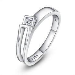 MaBelle - 18K 白色黄金简约优雅女装钻石戒指 (约0.04卡)