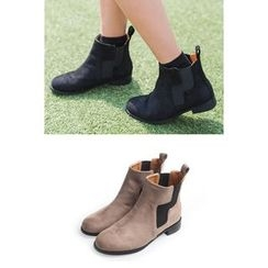 migunstyle - Banded Faux-Suede Ankle Boots