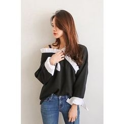 PPGIRL - V-Neck Frilled-Trim Pullover