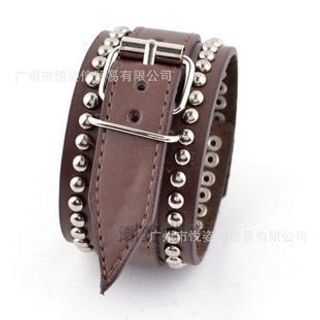 Trend Cool - Studded Belted Faux Leather Bracelet