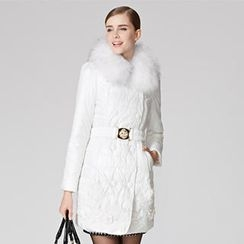 O.SA - Faux-Fur-Collar Double-Breasted Padded Coat