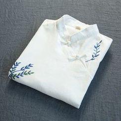 蘭芝 - 刺繡立領無袖連衣裙