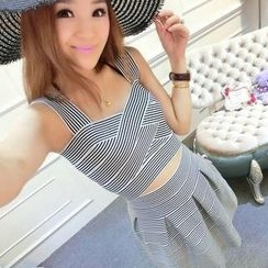 Ando Store - Set: Striped Sleeveless Cropped Top + Skirt
