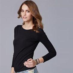 Moonbasa - Long-Sleeve Boatneck T-Shirt