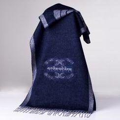 羚羊早安 - 刺绣混羊毛围巾