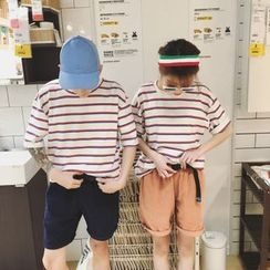 Simpair - Couple Matching Stripe Short-Sleeve T-Shirt