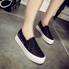 Solejoy - Studded Sequined Loafers