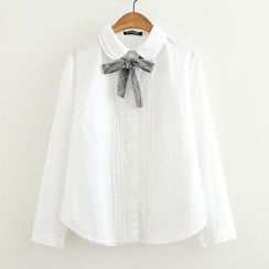 ninna nanna - Bow Detail Layered Collar Shirt