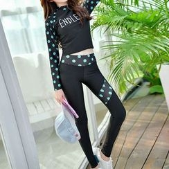 Roseate - Set: Dotted Rashguard + Swim Bottom + Yoga Pants