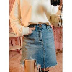icecream12 - Cutout-Hem Denim Mini Skirt
