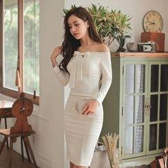 Gl.bY - Long-Sleeve Off Shoulder Sheath Dress