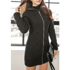 REDOPIN - Turtle-Neck Zip-Up Minidress