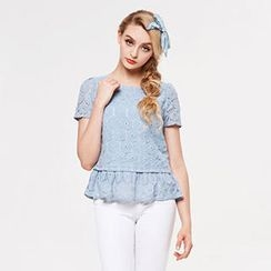 Power Sweet - Chiffon-Panel Ruffled Lace Top