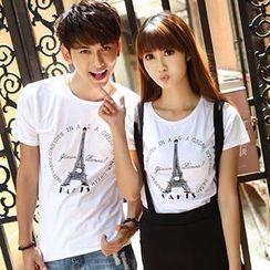 Igsoo - Couple Set: Print T-Shirt / + Suspender Skirt