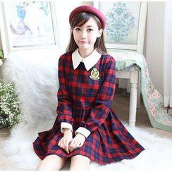 Moricode - Plaid Collared Dress