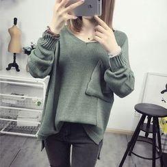 Maine - Plain Pocket-Accent Sweater