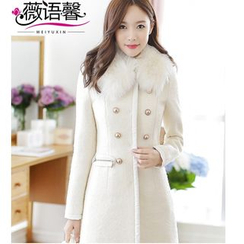 Rosesong - Furry Collar Double-Breasted Wool Blend Coat