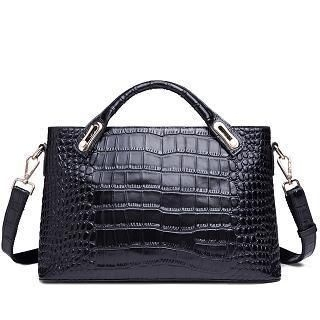 MBaoBao - Genuine-Leather Croc-Grain Satchel