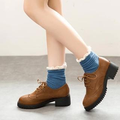 Wello - Stitched Heel Lace-up Oxford Shoes
