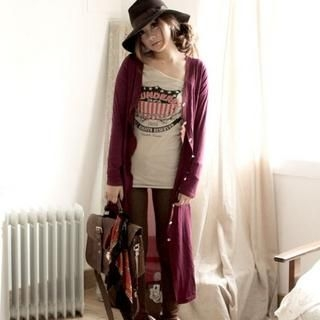 ZOO - Chiffon-Back Long Cardigan