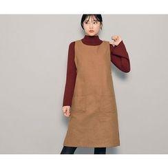 HOTPING - Sleeveless Button-Detail Dress