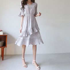Hello sweety - Bell-Sleeve Layered A-Line Dress