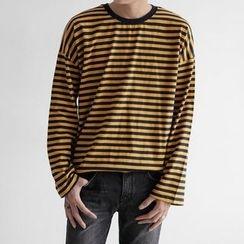 Seoul Homme - Long-Sleeve Striped T-Shirt