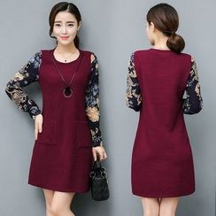 Rosehedge - Floral Print Sleeve Shift Dress