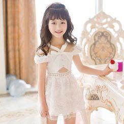 Candy Rain - Kids Off Shoulder Cut Out Dress