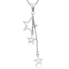 MaBelle - 14K White Gold Polished Finish Drop Style Triple Stars Necklace (16'')