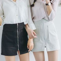 SUYISODA - Zip-Up Mini Skirt