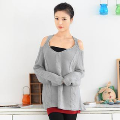 59 Seconds - Cutout Shoulder Cable Knit Sweater