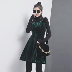 Sonne - Pleated-Hem Velvet Tank Dress