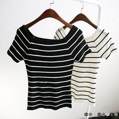 Maymaylu Dreams - Striped Boat Neck Short-Sleeve Knit Top