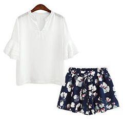 lilygirl - Set: Bell-Sleeve Chiffon Blouse + Floral Print Shorts