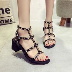 Shoesun - Faux-Leather Studded Block-Heel Sandals