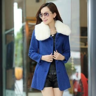 Mooiee - Furry-Collar Single-Breasted Coat