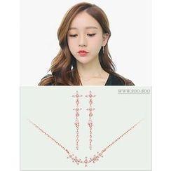 soo n soo - Set: Rhinestone Necklace + Earrings