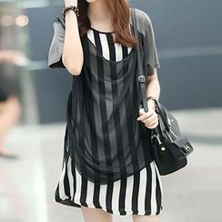 Dream Girl - Short Sleeved Mesh Panel Pinstriped T-shirt Dress