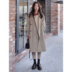 maybe-baby - Double-Breasted Trench Coat With Sash