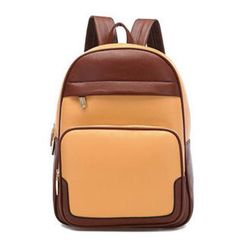 BeiBaoBao - Faux-Leather Two-Tone Backpack