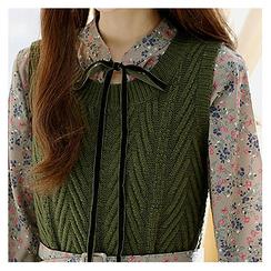 Sechuna - Set: Floral Chiffon Dress + Knit Vest