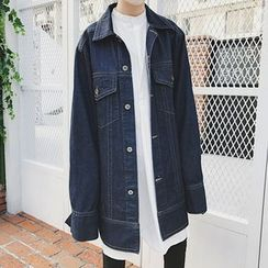 Bjorn - Oversized-Sleeve Long Denim Jacket