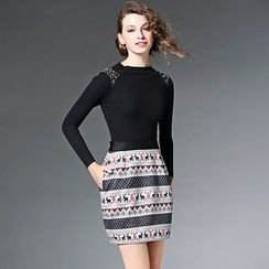 Y:Q - Embellished Knit Panel Patterned Mock Two-Piece Dress