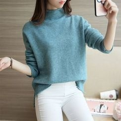 NIZ - Mock-Neck Slit-Side Sweater