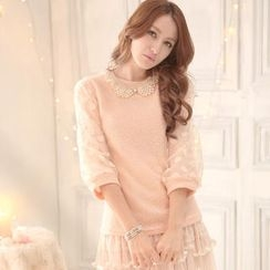 Tokyo Fashion - Dotted Tulle-Sleeve Sweater