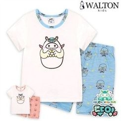 WALTON kids - Kids Pajama Set: Printed Top + Band-Waist Shorts