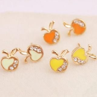 TAIPEI STAR - Rhinestone Apple Stud Earrings