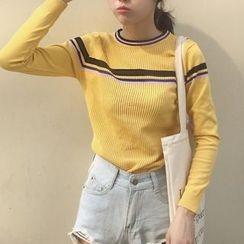 Cloud Nine - Stripe Long-Sleeve Knit Top